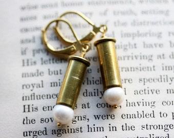 Pearl Bullet Earrings  22 Caliber Casings Steampunk Bohemian Earrings