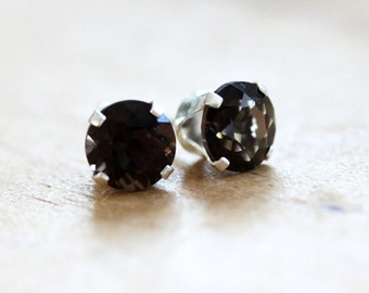 Smokey Quartz Stud Earrings 6 mm Sterling Silver  Natural Brown Quartz Gemstones December Birthstone