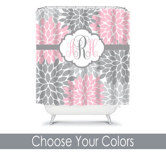 SHOWER CURTAIN Custom MONOGRAM Personalized Bathroom Decor Flower ...