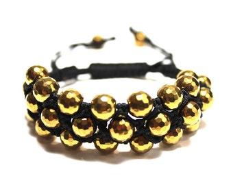 GOLD HEMATITE Triple Row Wrap Bracelet / Stacking Macrame Three Rows Strand / Minimalist Neutral Grey / Gugma Women's