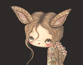 Fawn Print Tattooed Girl Fuzzy Fawn Deer Wall Art Whimsical Portrait