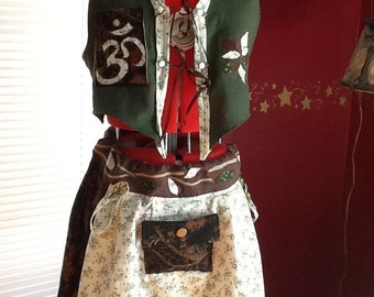 Faerie Corset-tied Skirt w/ Hoop Loops and Matching Ohm Vest