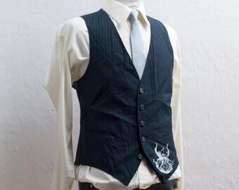 Men's Suit Vest / Medium / Vintage Navy Pinstripe Waistcoat / Screen Printed Viking / Size 39