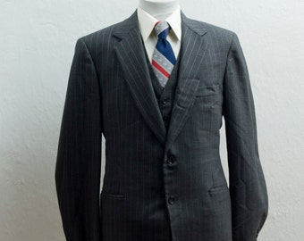 Men's Blazer and Suit Vest 42/ Vintage Dark Grey Jacket and Waistcoat / Size 42 Medium Large