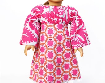 Fits like American Girl Doll Clothes - Babydoll Peasant Dress in Fuchsia