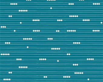 CLEARANCE Birch Abacus Teal Organic Cotton Fabric