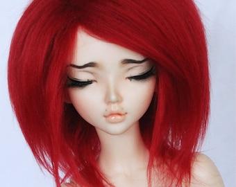 BJD Doll  MSD minifee wig Red fake fur wig MonstroDesigns