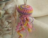 Easter Pastels Pink Lavender Light Yellow Crochet Jellyfish Keychain Plush Animal