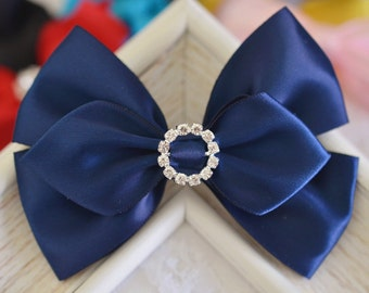 NEW! Set of 2pcs handmade Satin Bows--navy (GR1155)
