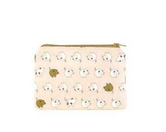 Pig Mini Zipper Pouch / Cute Camera Bag in Little Pig Parade on Pink