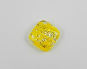 Dichroic Glass Cabochon - Yellow and Silver - 1503