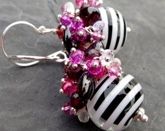 Striped glass earrings in sterling silver - garnet earrings - gemstone jewelry - short beaded dangle - glass beads - black white pink
