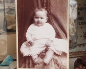 Victorian Antique Baby Photo in Black and White Sepia Paper Ephemera Old Photo Infant Photo Old Picture