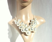 Big Faux Pearl Bubble cluster Statement Necklace Handmade for her for mum pearls unique gift cream pearls