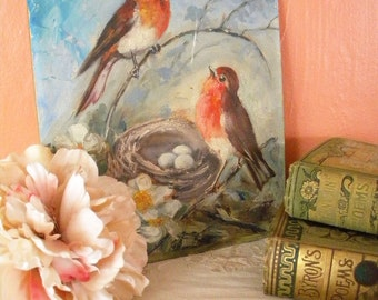 Vintage Painting of Robins in a Bird's Nest Original Artist Signed