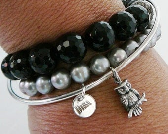 Sterling Silver Bangle owl Charm Bracelet Layering stacking friendship BFF