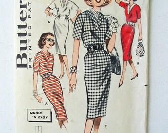 "Butterick 9330 1960s Polo Neck Slim Dress Straight Dress Tube Dress Kimono Sleeves Vintage size 10 = modern size 8 Bust 31"""