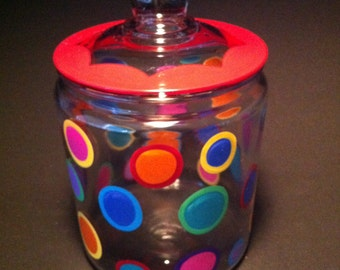 cookie jar with colorful glass polka dots