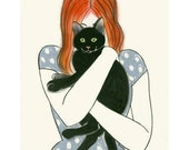 "Cat art -  Odette and Bruno 8.3"" X 11.7"" print - 4 for 3 SALE"