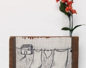 Retablo Folk Art - Proceeds Benefit Animal Rescue, Rustic Landscape on Fence Post, Illustration on Wooden Fence Board, Urban UpCycling