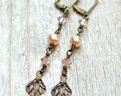 Long Crystal & Pearl Earrings - Antiqued Brass Vintage Style Dangle Earring Peach Pink Floral Filigree