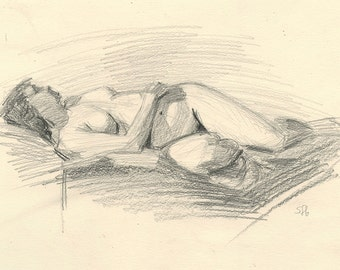 Original Charcoal Life Drawing of Female Nude Figure - Woman Reclining and Twisting