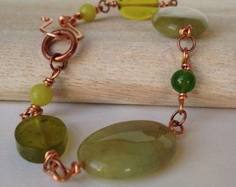 Green & Copper Bracelet Rustic Earthy Bracelet Bohemian Handmade Jewelry Handcrafted