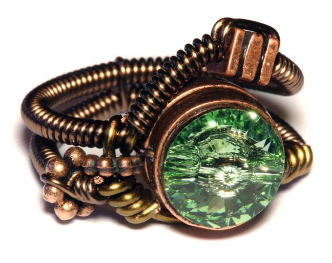 Steampunk Jewelry - Steampunk Wire Ring with Chrysolite Green Swarovski Crystal