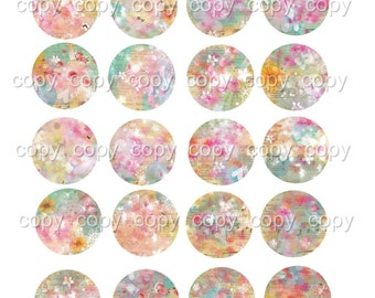 INSTANT DOWNLOAD - 1 Inch Circles  - No. 56c -  Printable Digital Collage Sheet - Digital Download