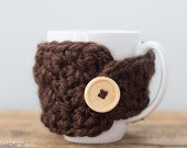 Dark Brown Mug Cozy, Brown Mug Cozy, Mug Warmer, Mug Cover