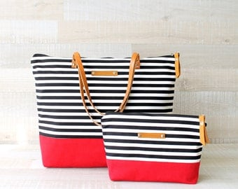Stripe Tote Bag, EXPRESS SHIPPING, Laptop Bag, Diaper Bag, Leather Straps, Diaper Set, Beach Tote Bag, Nautical Bag, Canvas Tote, Zip Bag