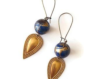 Teal Earrings Gold Speckles - Brass Fan Earrings - Blue Earrings Golden - Vintage Jewellery - Horizon Earrings (SD0891)