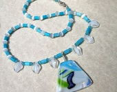 Dichroic Fused Glass Statement Necklace - Turquoise Sky Blue Color