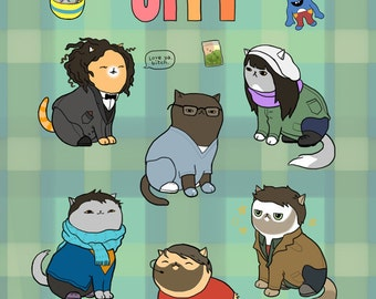 """Broad City Cats - """"Paw'd City"""" 8x10in. print"""