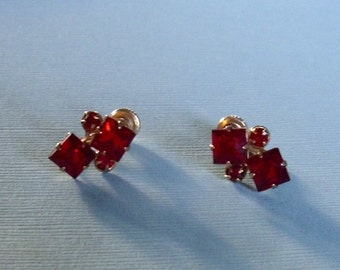 Vintage Red Rhinestone Earrings