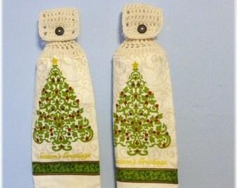 Hanging Kitchen Towels ,Crochet Button Top, Matching Pair, Hanging Kitchen Towel Set,Dish Cloths, Seasons Greetings Christmas Tree