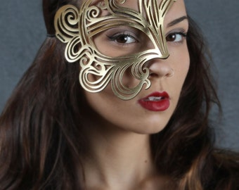 Bemused Leather Mask in Gold