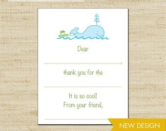 Whale Thank You Cards for Kids, Fill In - 10 Cute Note Cards