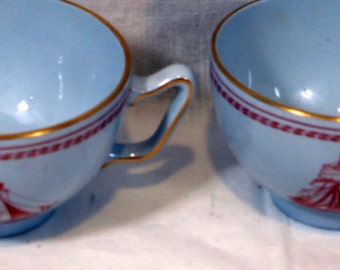 English Spode Red Coffee Cups Trade Winds set of 4