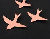 SALE Copper finish ceramic wall art Modern wall sculpture Metallic birds 3 Swallows Decorative art tiles Wall hanging art objects