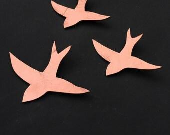Copper ceramic wall art Modern wall sculpture Metallic birds 3 Swallows Decorative art tiles Wall hanging art objects