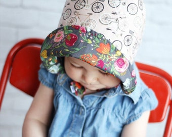 UB2  FLOWER BASKET vintage bicycle cruisers & baskets of flowers make this baby sun hat a perfect ride by The Urban Baby Bonnet
