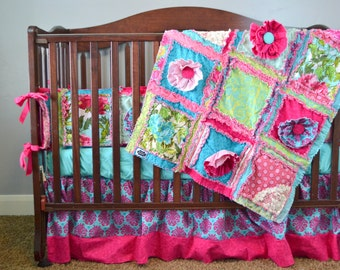 Ruffle Flower Rag Quilt Pattern - Girl Quilt Pattern - Sewing Pattern - Baby Quilt Patterns - Baby Quilt to Make - Easy Quilt Patterns