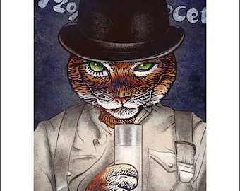 A Clockwork Orange Tabby-  11 x 14 signed print