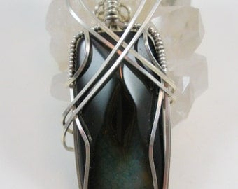 Black and  Teal Rainbow Snakeskin Agate in Sterling Silver Wire Wrapped Pendant Necklace