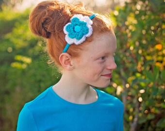 Turquoise Blue Headband White Headband Turquoise Headband Crochet Flower Headband Toddler Girl Headband Toddler Headband Spring Headband