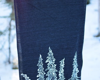 Winter Trees Screenprinted Scarves