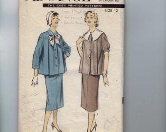 1950s Vintage Sewing Pattern Advancd 7721 Misses Maternity Suit Top Blouse Size 12 Bust 30 50s  99