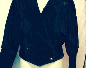 Black Suede Fringe Jacket Size Small
