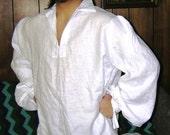 Large White Men's Renaissance Shirt - SCA, LARP